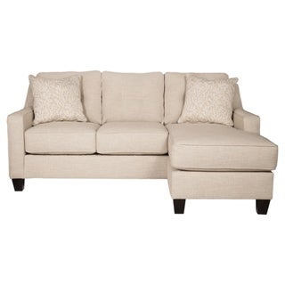 Benchcraft By Ashley Aldie Nuvella Sand Fabric Queen Contemporary Sofa  Chaise Sleeper