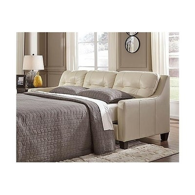Signature Design By Ashley O Kean Contemporary Galaxy Off White Leather Queen Sleeper Sofa