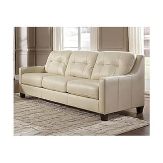Signature Design by Ashley Design O\'Kean Contemporary Galaxy Off-white  Leather Queen Sleeper Sofa