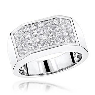 Unique Platinum Princess Cut Diamond Band for Men 3.25ctw VS1-VS2 Clarity by Luxurman