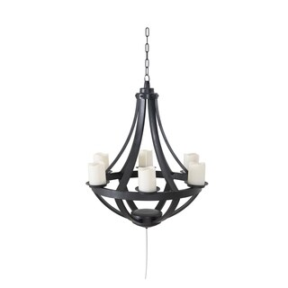 Sunjoy Francis Battery Operated Outdoor Plastic Hanging LED Chandelier