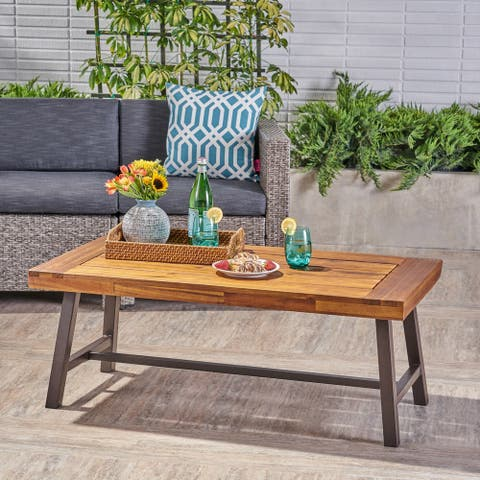 Carlisle Outdoor Acacia Wood Coffee Table by Christopher Knight Home
