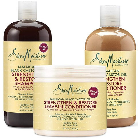 Shea Moisture Black Castor Oil Strengthen, Grow & Restore Pack