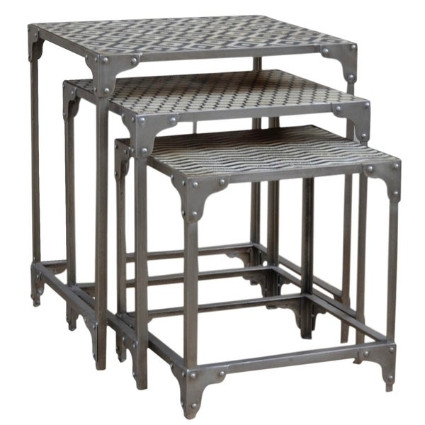 HILO Black & White Patterned Faux Stone Nesting Tables with Silver Base. Purposefully antiqued.