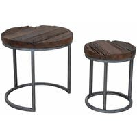 Kalla Old Wood Round Nesting Tables with Silver Base