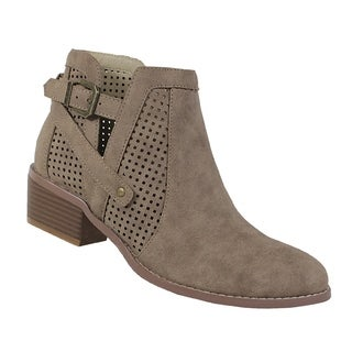 Yoki-Catalina-107-womens ankle bootie with side buckle and side zipper