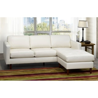 Shop Babbitt Ivory Leather Modern Sectional Sofa Free