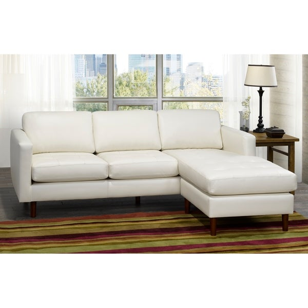Shop Ray Mid Century Modern Ivory Top Grain Leather Tufted