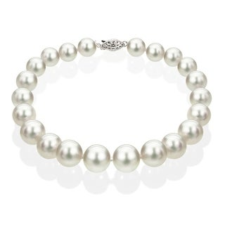 DaVonna 14k White Gold 6.5-7 mm White Akoya Cultured Pearl Bracelet