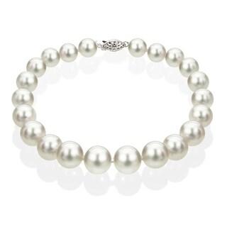 DaVonna 14k White Gold 9-9.5 mm White Akoya Cultured Pearl Bracelet (4 options available)