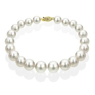 DaVonna 14k Yellow Gold 7-7.5 mm White Akoya Cultured Pearl Bracelet