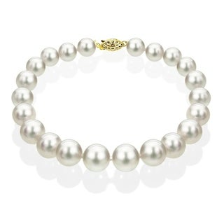 DaVonna 14k Yellow Gold 9-9.5 mm White Akoya Cultured Pearl Bracelet