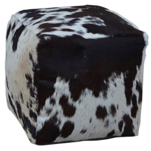 Square Cowhide Pouf TESSA in Black & White