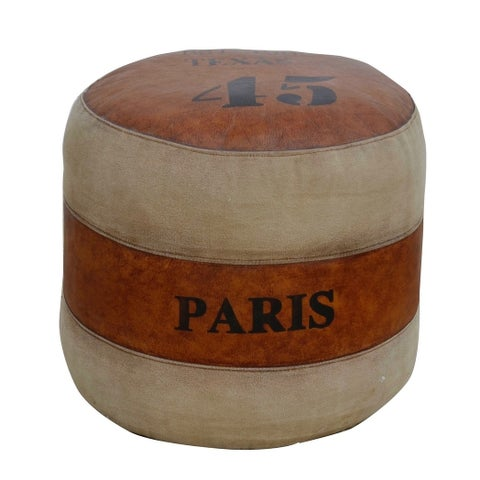 Round Pouf & Stool ROY in grey canvas with brown leather seat