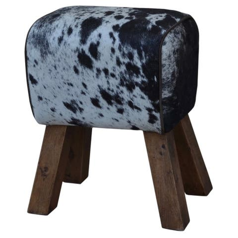 Cow Hide Stool ARNO in Black & White
