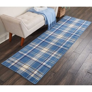 "Nourison Grafix Blue Plaid Runner Rug - 2'3"" x 7'6"""