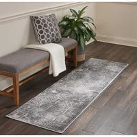 "Kathy Ireland Heritage Charcoal Abstract Runner Rug by Nourison - 2'2"" x 7'6"""