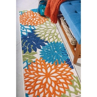 Nourison Aloha Indoor/Outdoor Floral Multicolor Area Rug - 2' x 6'