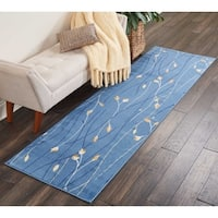 "Nourison Grafix Light Blue Floral Runner Rug - 2'3"" x 7'6"""