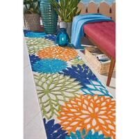 "Nourison Aloha Indoor/Outdoor Floral Multicolor Area Rug - 2'3"" x 10'"