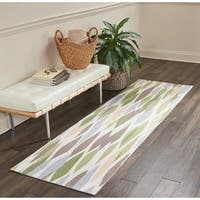 """Waverly Sun & Shade Indoor/Outdoor Green Blossom Rug by Nourison - 2'3"""" x 8'"""