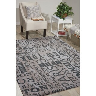 "Waverly Sun & Shade Indoor/Outdoor Graphite Grey Rug by Nourison - 2'3"" x 8'"
