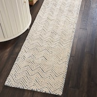 "Nourison Modern Deco Hand Tufted Light Blue/Ivory Runner Rug - 2'3"" x 7'6"" Runner"