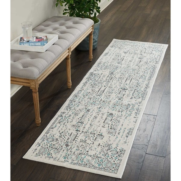 Shop Kathy Ireland Silver Screen Ivory/Teal Runner Rug By