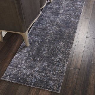 """Nourison Lucent Distressed Coal Grey Runner Rug - 2'3"""" x 8'"""