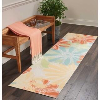 """Nourison Home & Garden Indoor/Outdoor Ivory Floral Runner Rug - 2'3"""" x 8'"""