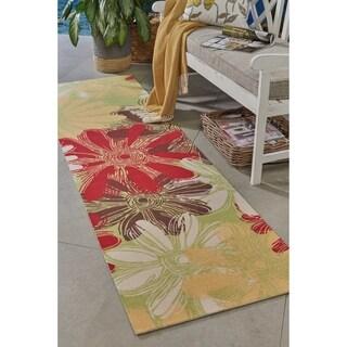 """Nourison Home & Garden Green Multicolor Floral Indoor/Outdoor Runner Rug - 2'3"""" x 8'"""