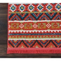 """Nourison Tribal Decor Orange Multicolor Aztec Runner Rug - 2'2"""" x 7'9"""" Runner"""