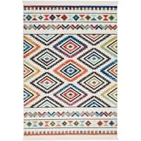 "Nourison Tribal Decor White/Multicolor Aztec Runner Rug - 2'2"" x 7'9"" Runner"