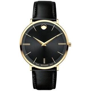 Movado Men's 0607087 'Ultra Slim' Leather Watch