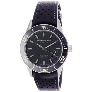 Raymond Weil Men's 'Freelancer' Automatic Black Rubber Watch