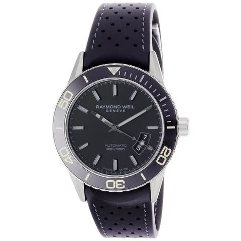 Raymond Weil Men's 'Freelancer' Automatic Black Rubber Watch