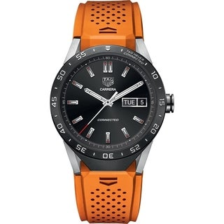 Tag Heuer Men's SAR8A80.FT6061 'Connected' Smartwatch Android 4.3+ IOS 8.2+ Bluetooth Microphone Orange Rubber Watch