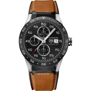 Tag Heuer Men's SAR8A80.FT6070 'Connected' Smartwatch Android 4.3+ IOS 8.2+ Bluetooth Microphone Brown Leather Watch