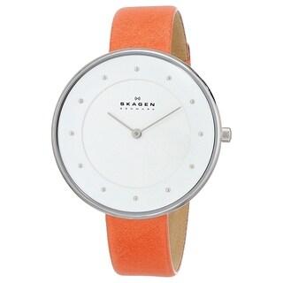 Skagen Women's 'Gitte' Orange Leather Watch