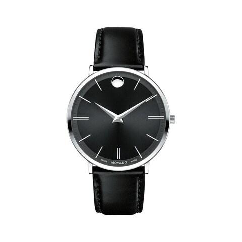 Movado Men's 'Ultra Slim' Black Leather Watch