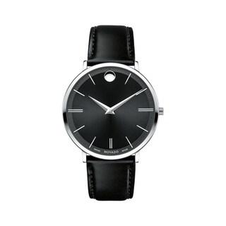 Movado Men's 0607086 'Ultra Slim' Black Leather Watch
