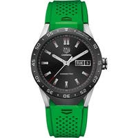 Tag Heuer Men's SAR8A80.FT6059 'Connected' Smartwatch Android 4.3+ IOS 8.2+ Bluetooth Microphone Green Rubber Watch