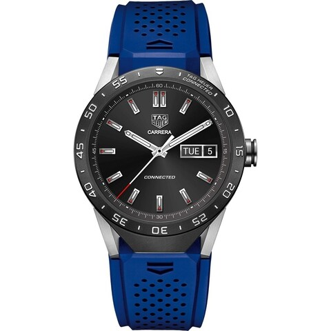 Tag Heuer Men's 'Connected' Smartwatch Android 4.3+ IOS 8.2+ Bluetooth Microphone Blue Rubber Watch