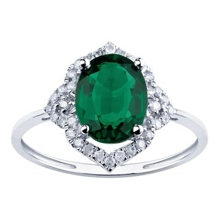 10K White Gold 1.85ct TW Emerald and Diamond Vintage Style Ring - Green