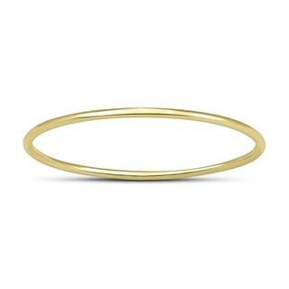 Skinny Thin Domed Stackable 14K Yellow Gold Band (.75 mm)
