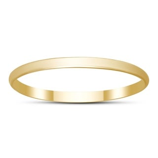 Skinny Thin Domed Stackable 14K Yellow Gold Band (1mm)