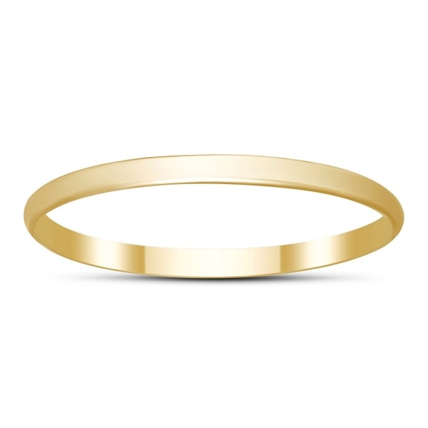 a36d6c98e006fe Shop Skinny Thin Domed Stackable 14K Yellow Gold Band (1mm) - On ...