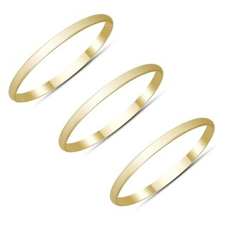 Skinny Thin Domed Stackable 14K Yellow Gold Bands - Set of 3