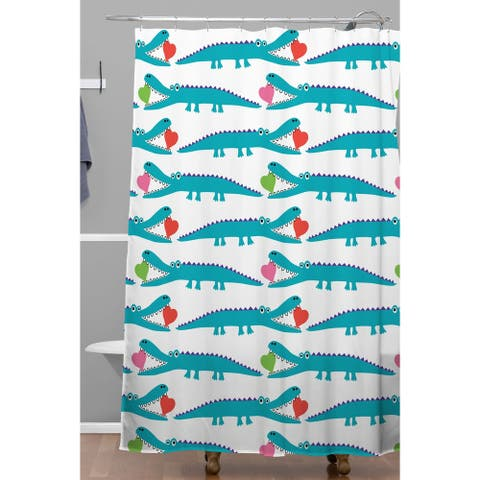 Andi Bird Alligator Love Aqua Shower Curtain