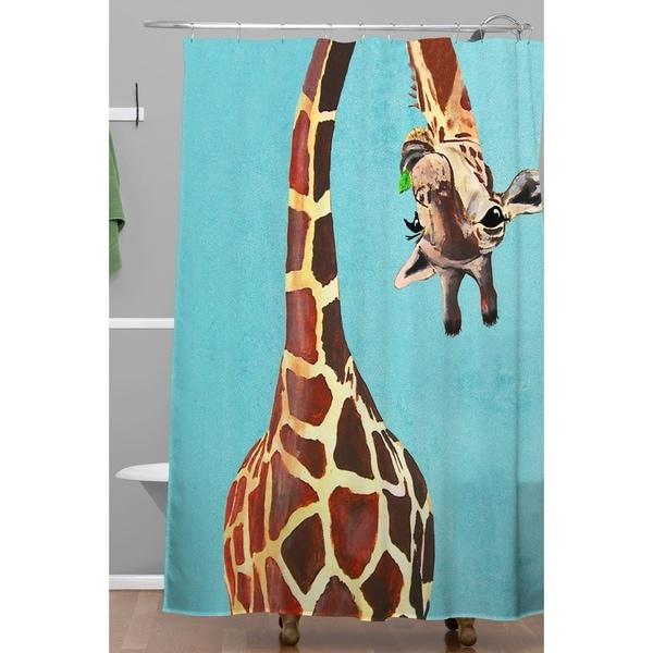 Shop Coco De Paris Giraffe With Green Leaf Shower Curtain